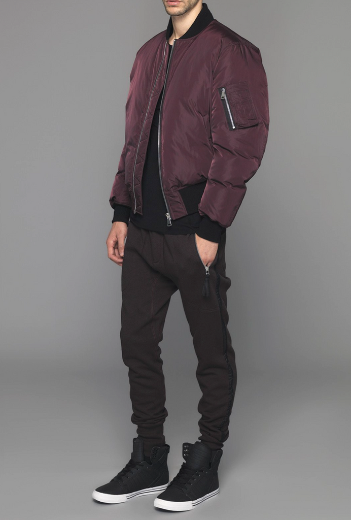 UNCONDITIONAL AW19 Burgundy slim fit sweat trousers with microfibre tux stripe.