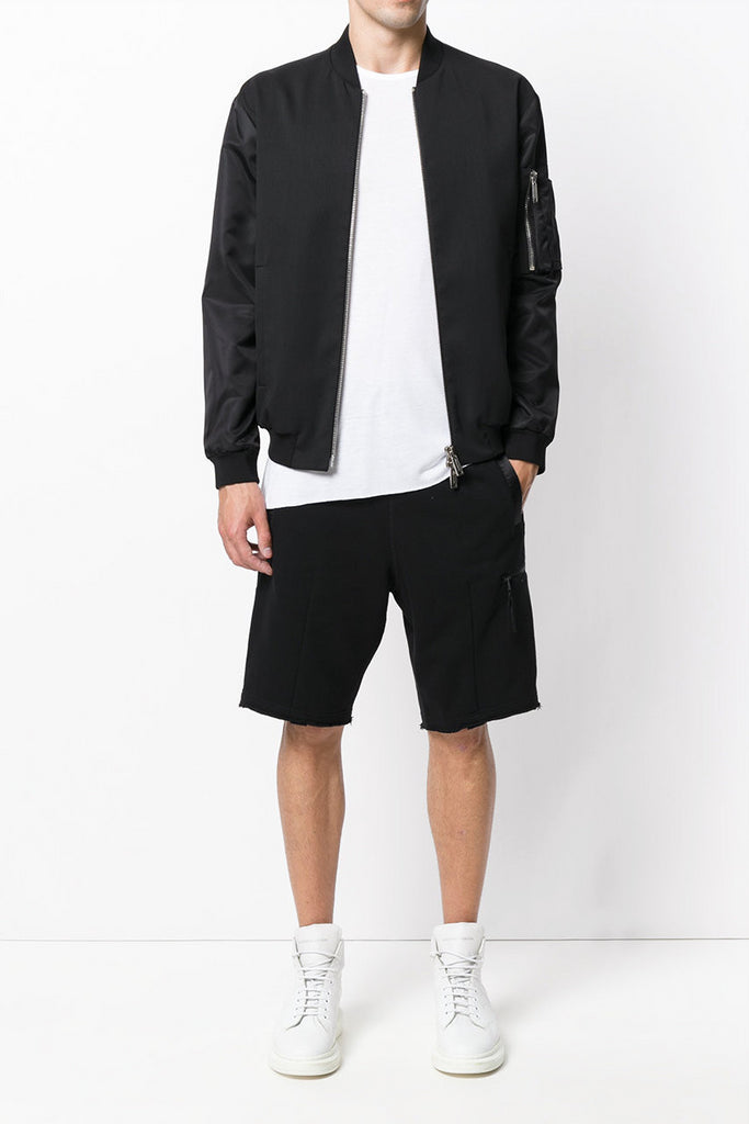 UNCONDITIONAL Black luxe sweat knee length shorts with lower zip pocket ms74