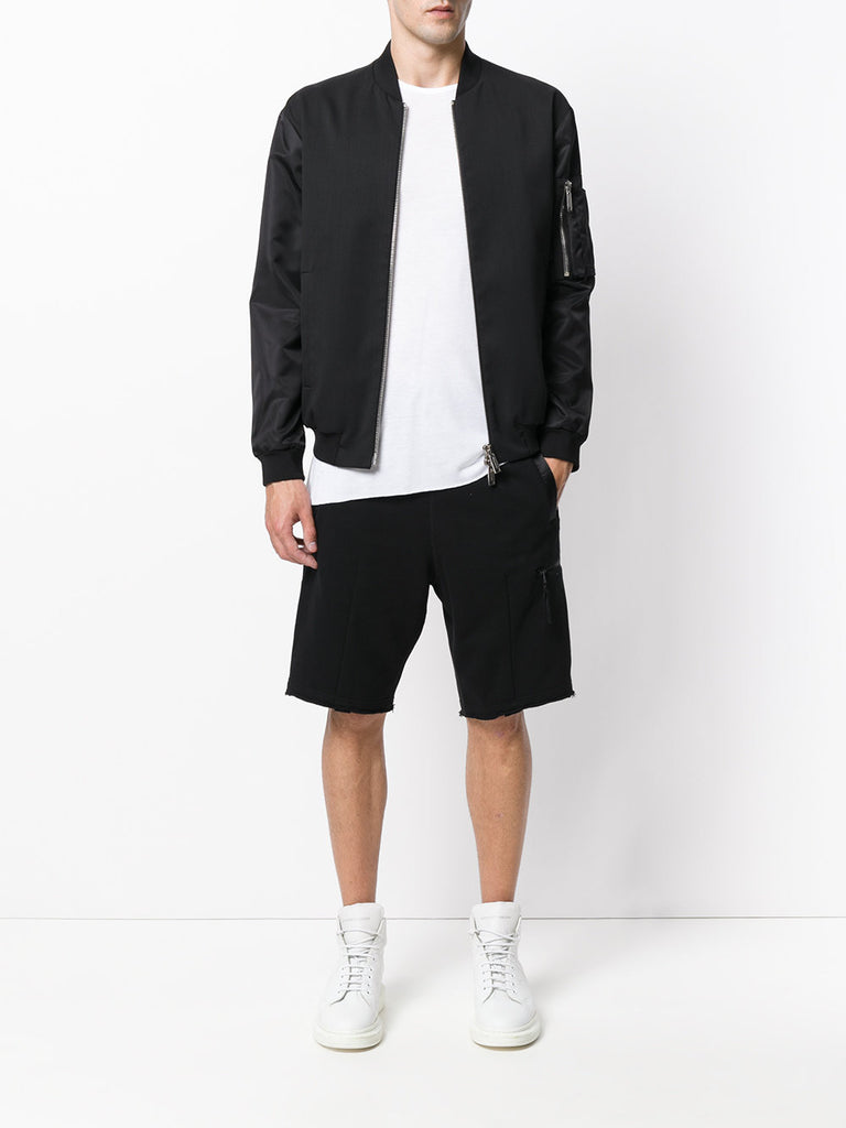 UNCONDITIONAL SS19 Military Cold Dye raw finish luxe sweat shorts , with low zip pocket