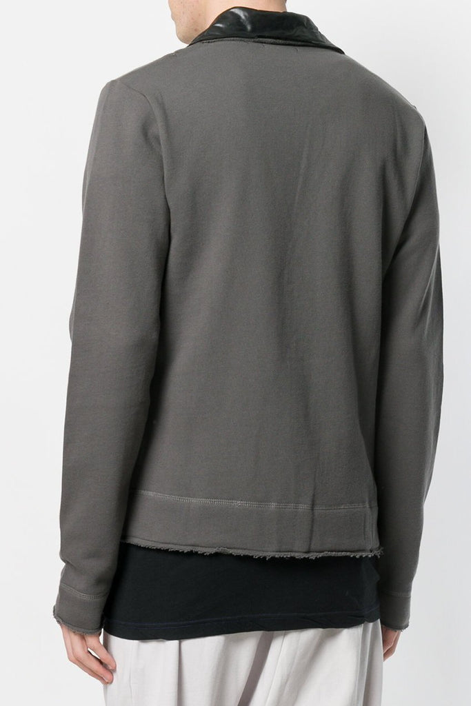 UNCONDITIONAL Military grey sweat shirting jacket with contrast black microfibre.