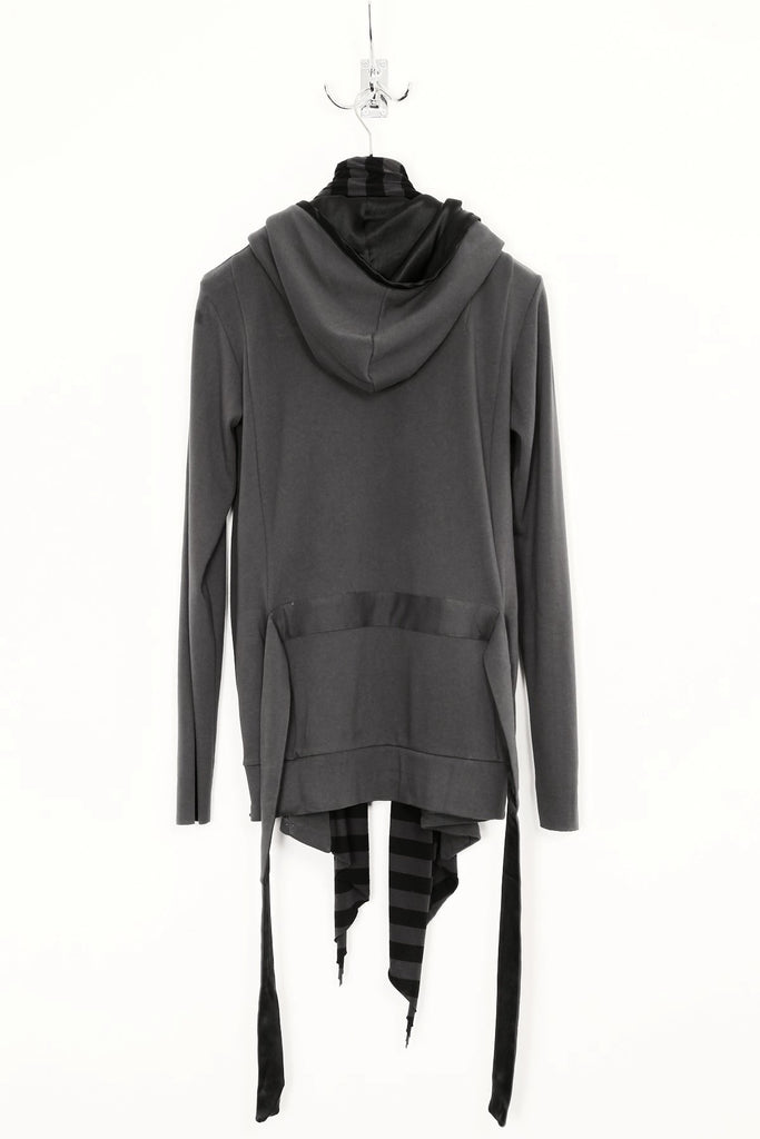 UNCONDITIONAL SS19 Dark Grey hooded boxer sweat jacket with striped scarf