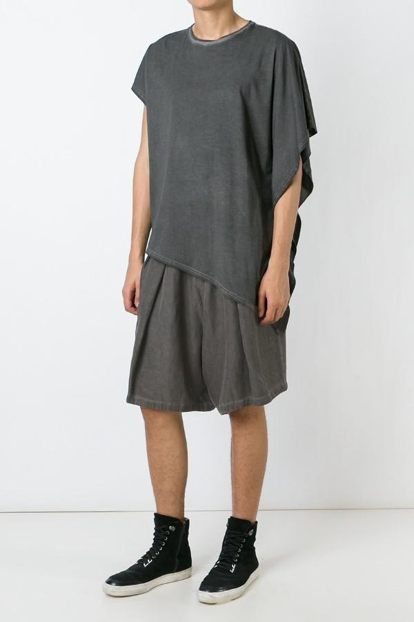 UNCONDITIONAL Military Cold Dye draped fold pleat shorts