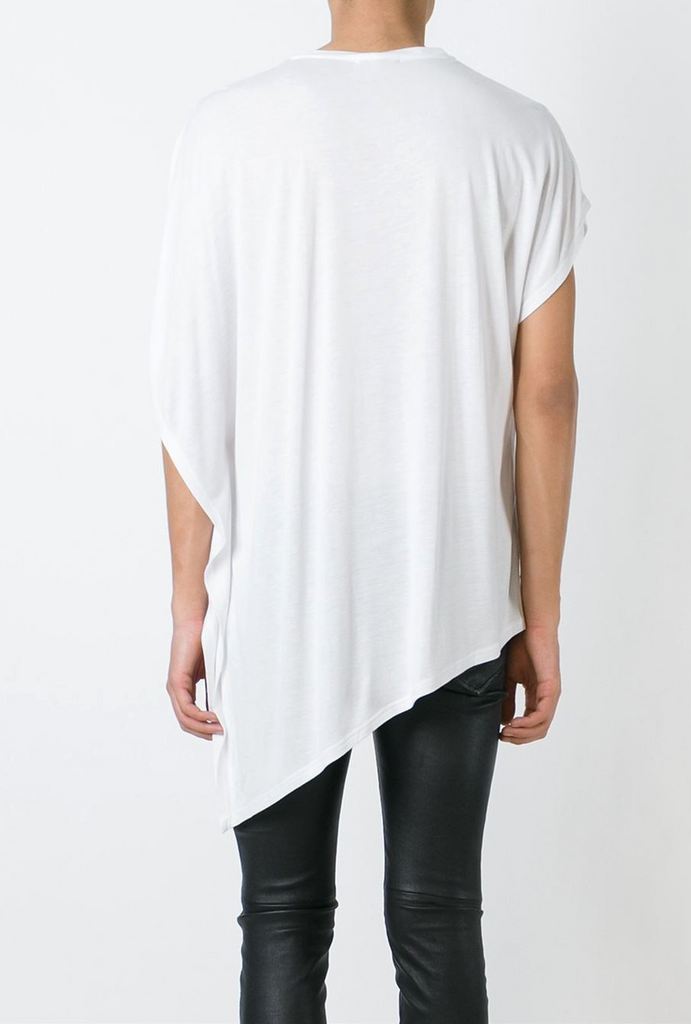 UNCONDITIONAL signature crew neck drape fin T-shirt, in black heavy rayon