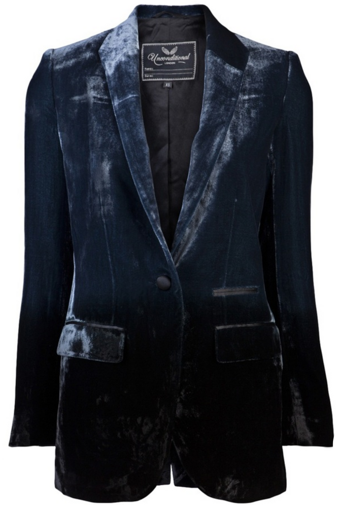 UNCONDITIONAL Navy silk velvet Boyfriend blazer