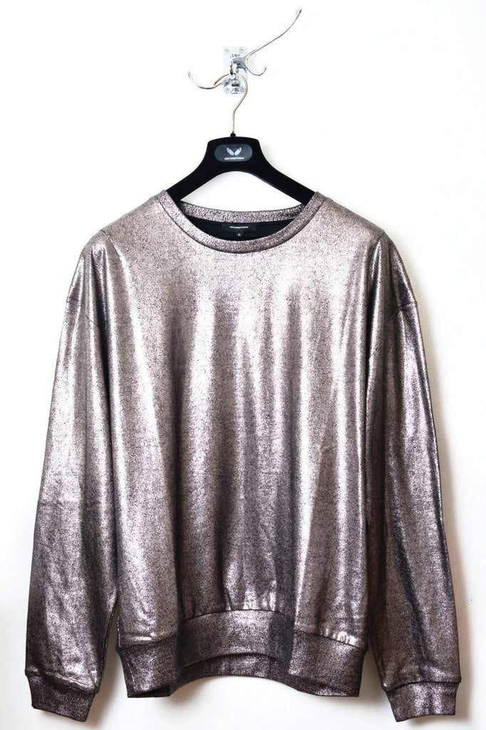UNCONDITIONAL SS18 Oversized metallic bronze foiled cotton sweatshirt