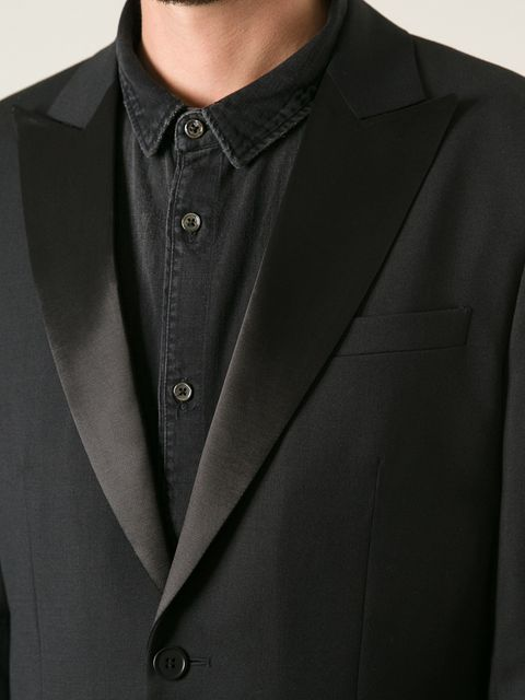 UNCONDITIONAL Black 1 button Tuxedo jacket with satin reveres