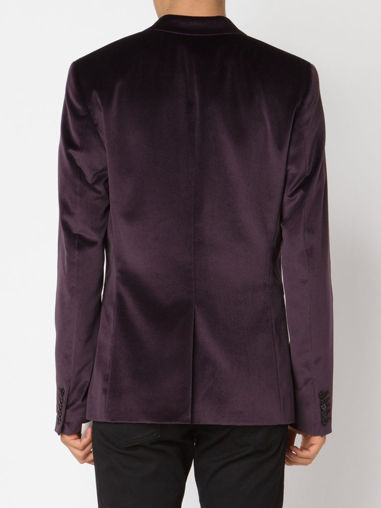 UNCONDITIONAL AW18 Dark Purple velvet wide lapel one button tuxedo jacket