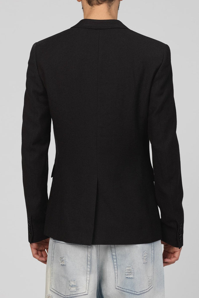 UNCONDITIONAL Charcoal pure wool 1 button 'reconstructed' jacket.