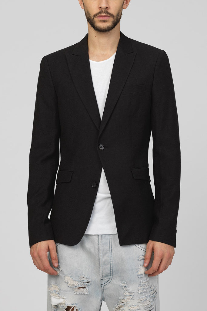 UNCONDITIONAL Black pure wool 1 button 'reconstructed' jacket.