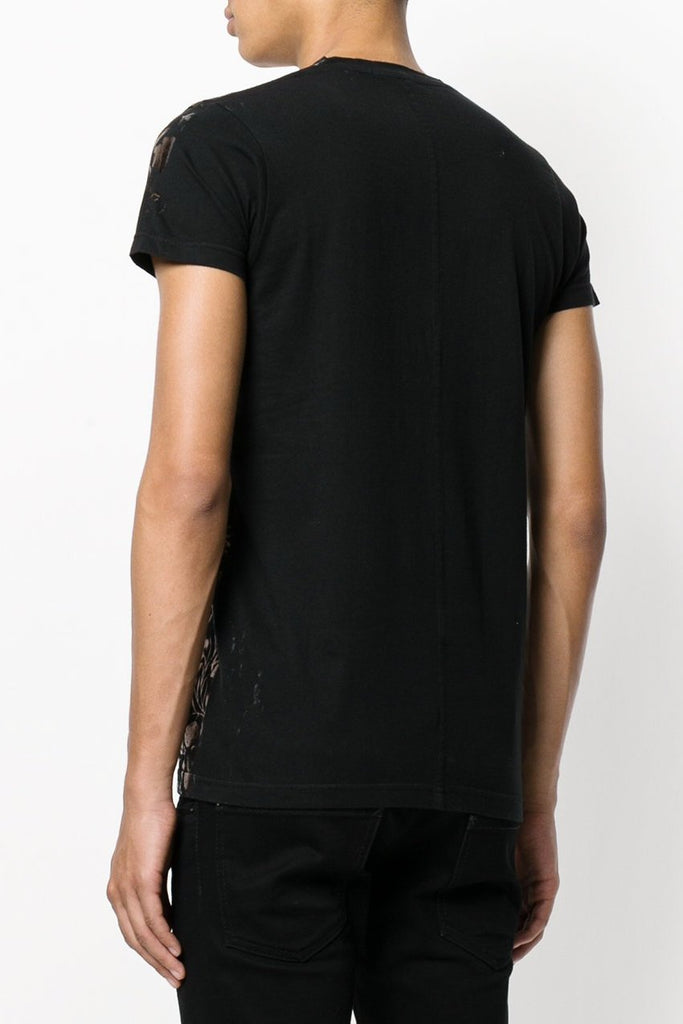 UNCONDITIONAL Black cotton v-neck T-shirt with copper baroque foiling