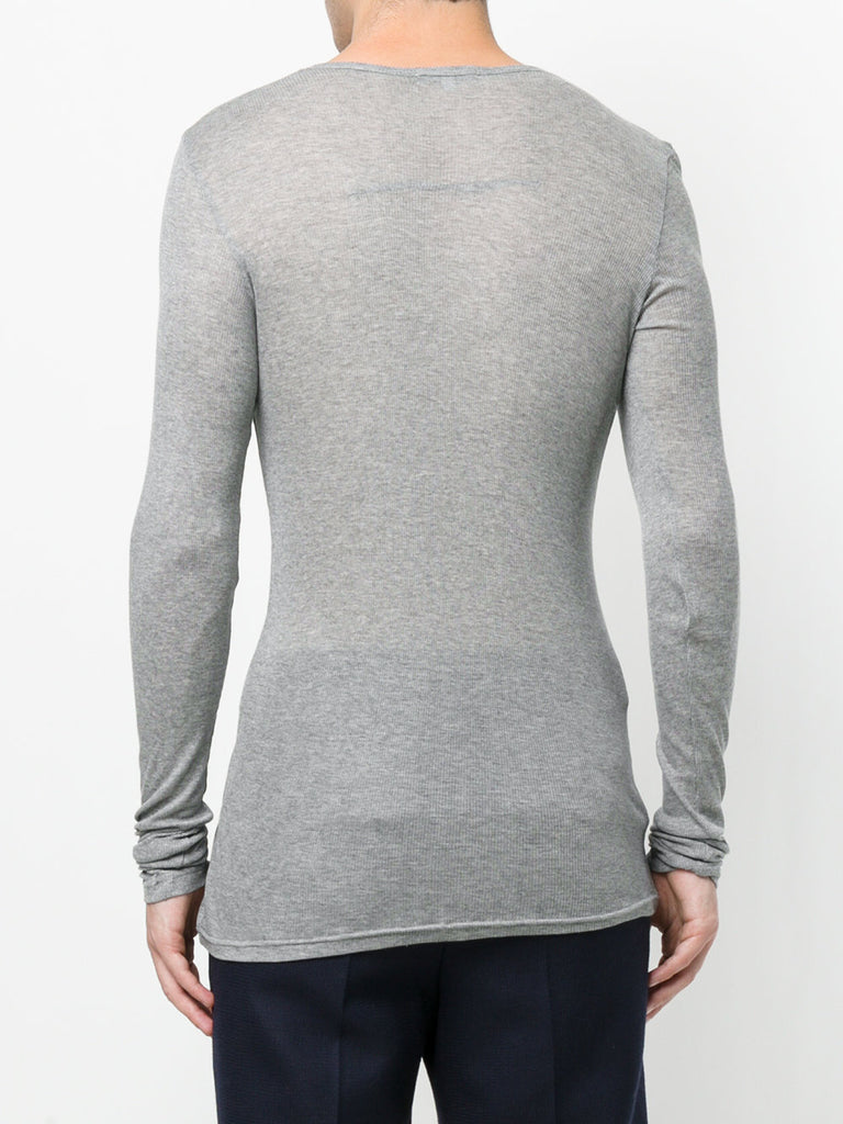 UNCONDITIONAL AW19 Flannel Grey fine rib long sleeved crew neck tee.