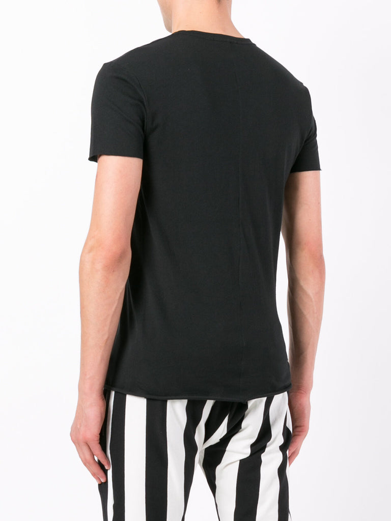 UNCONDITIONAL Black V-neck cotton T with centre back seam and raw hems