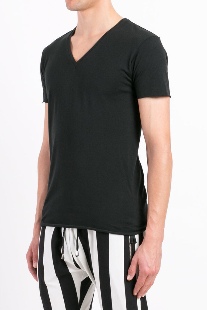 UNCONDITIONAL Black V-neck Tee with centre back seam.