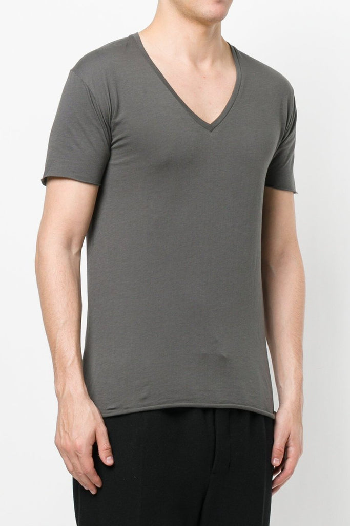 UNCONDITIONAL Military grey V-neck cotton tee with centre back seam and raw cut hems