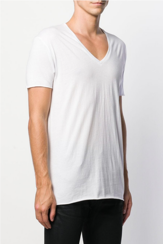 UNCONDITIONAL SS20 White V-neck T with centre back seam & raw cut hems