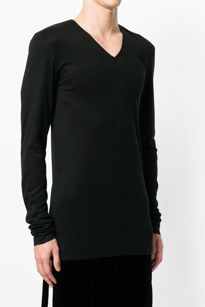 UNCONDITIONAL Black high V-neck rayon|cashmere|silk rib l/s T-shirt