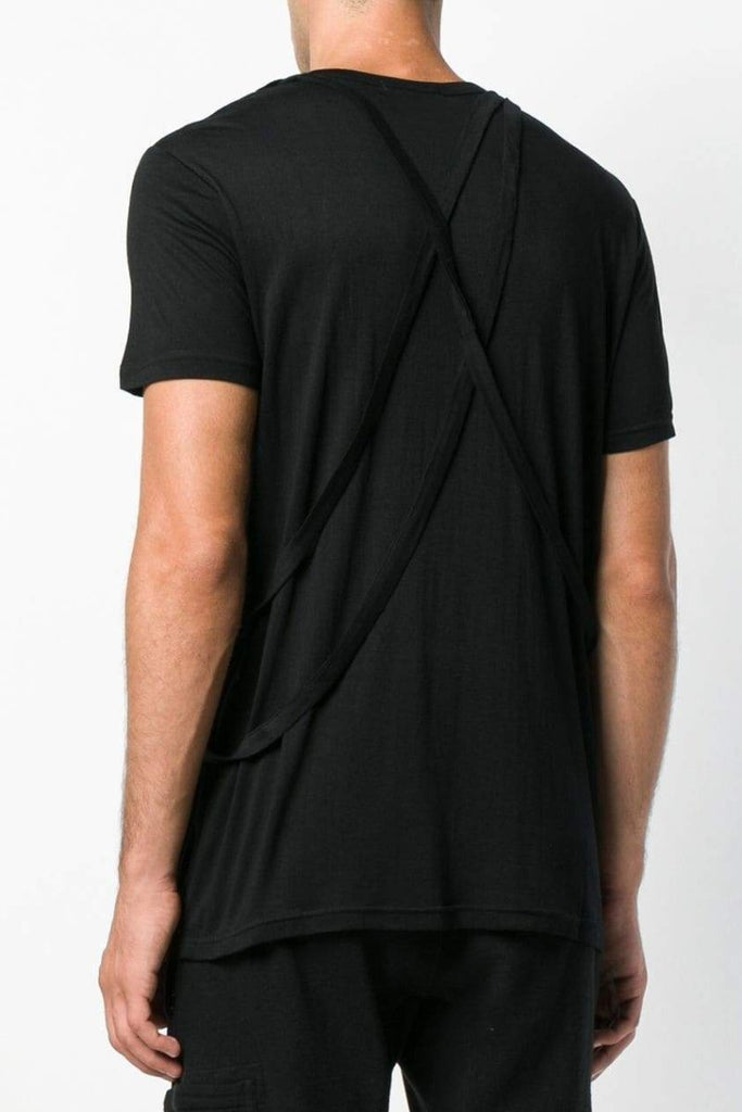 UNCONDITIONAL AW18 BLACK crew neck cross strap T shirt