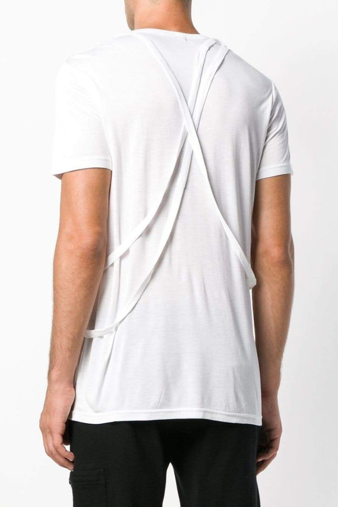 UNCONDITIONAL SS19 White crew neck cross strap T shirt