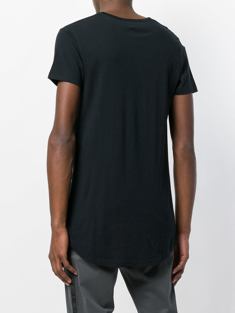UNCONDITIONAL SS18 Black V-neck tail T-shirt with shoulder pleat