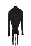 UNCONDITIONAL SS20 Black rayon long sleeved drape front cardigan.
