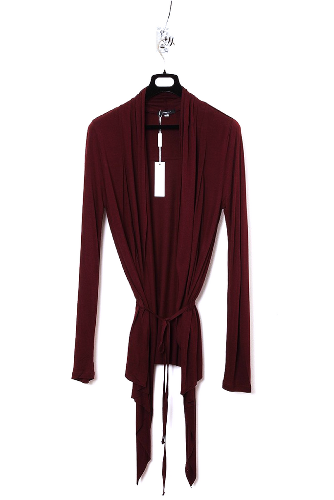 UNCONDITIONAL Burgundy rayon long sleeved drape front cardigan.