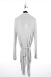 UNCONDITIONAL AW19 Stone rayon long sleeved drape front cardigan.