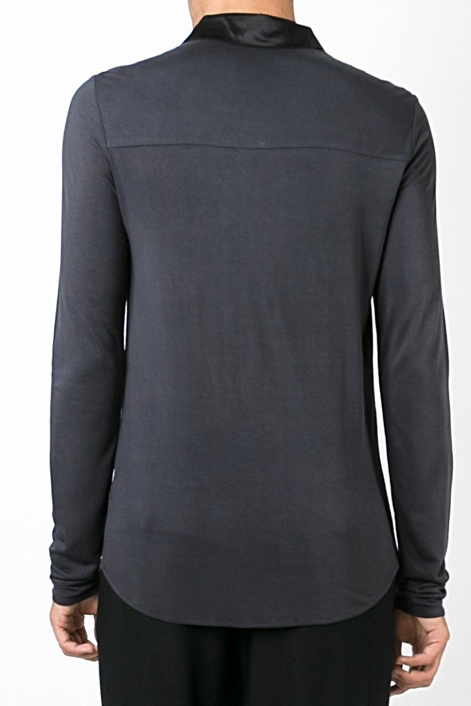 UNCONDITIONAL SS18 Dark Grey rayon long sleeved drape placket 'polo' shirt