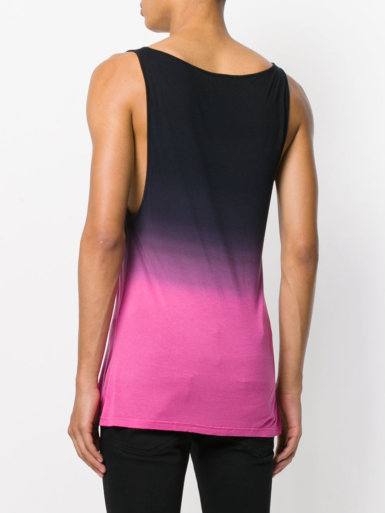UNCONDITIONAL SS19 Pink and black dip dye rayon vest.