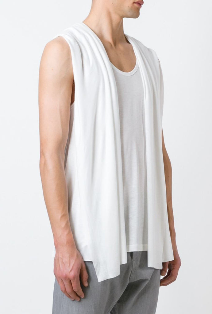 UNCONDITIONAL Signature AW16 white rayon hooded waistcoat cape vest.