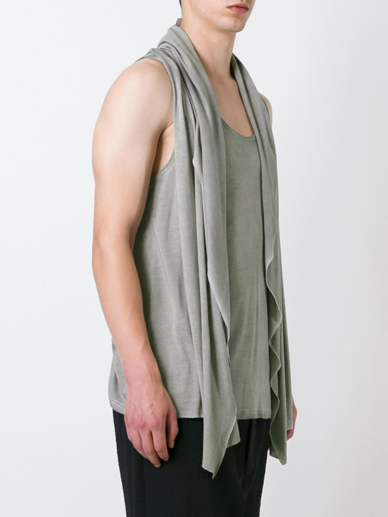 "UNCONDITIONAL SS17 ""Desert Sand"" cold dye rayon hooded waistcoat cape vest."