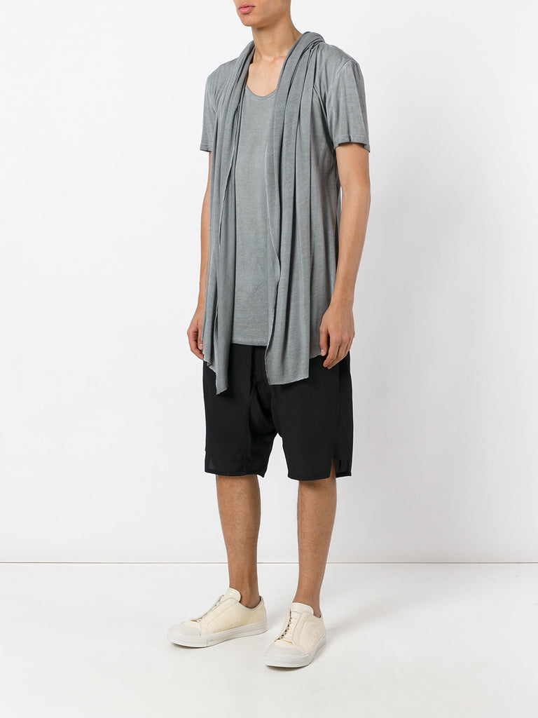 UNCONDITIONAL Grey cold dye hooded cape drape waistcoat T-shirt. R79
