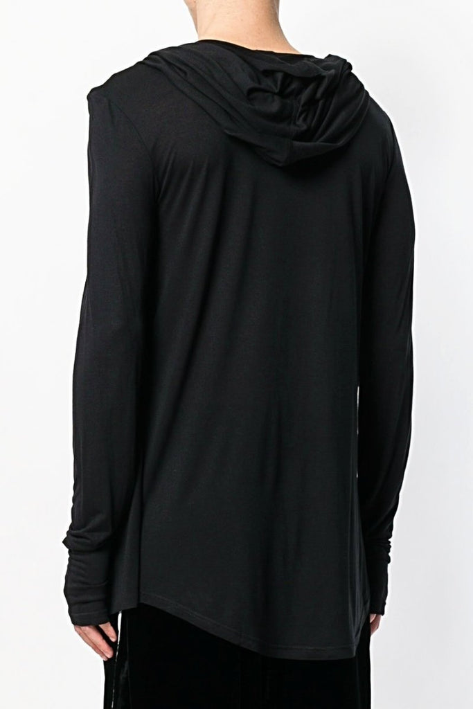 UNCONDITIONAL L/S black hooded, drape waistcoat T-shirt with thumbholes.