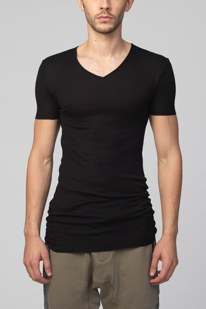 UNCONDITIONAL's short sleeve black ribbed rayon V neck T-shirt with raw cut hems. R80