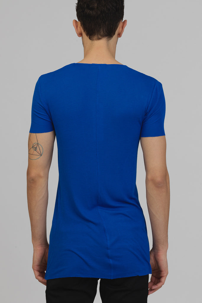 UNCONDITIONAL Azure ribbed rayon V- neck T-shirt.