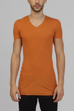 UNCONDITIONAL  Burnt Gold ribbed rayon V- neck T-shirt.