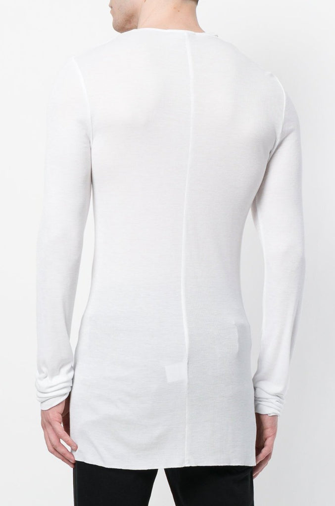 UNCONDITIONAL SS19 Long sleeved white rayon rib V-neck T-shirt
