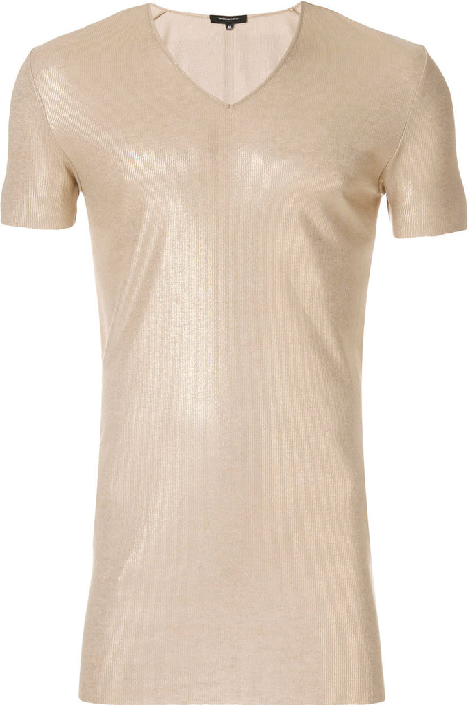 UNCONDITIONAL AW19 Gold on stone fine ribbed rayon V-neck T-shirt.