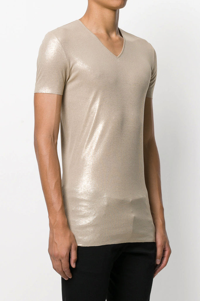 UNCONDITIONAL AW17 Gold on stone fine ribbed rayon V-neck T-shirt.