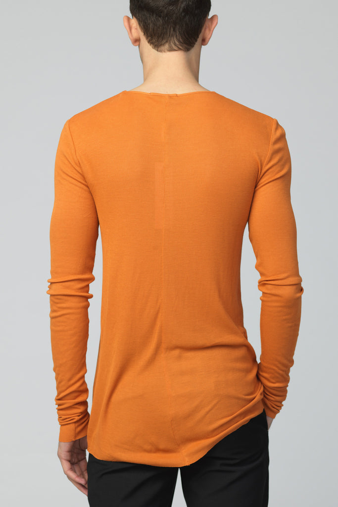 UNCONDITIONAL Burnt Gold rayon rib crew neck long sleeved T-shirt.