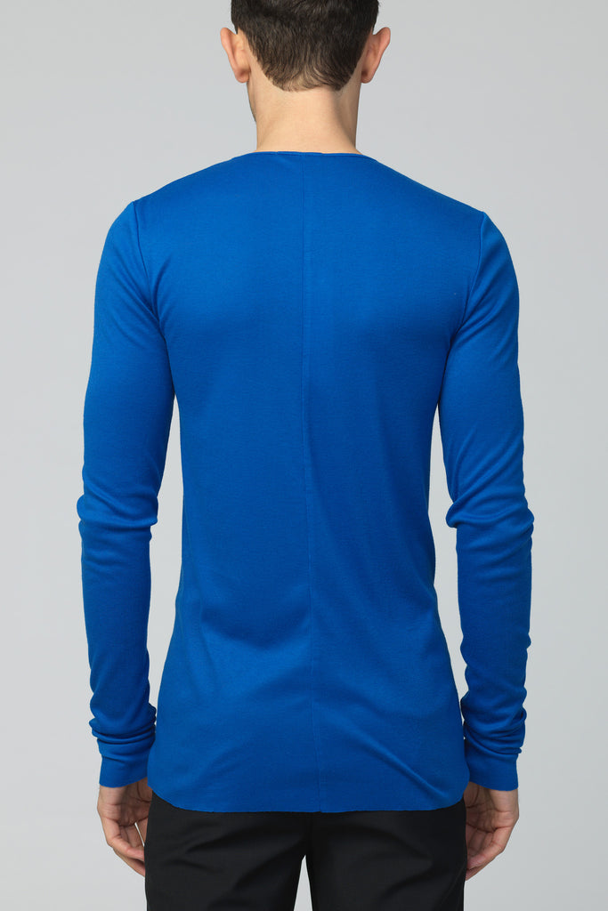 UNCONDITIONAL AW16 long sleeved electric blue rayon silk cashmere rib crew neck T-shirt