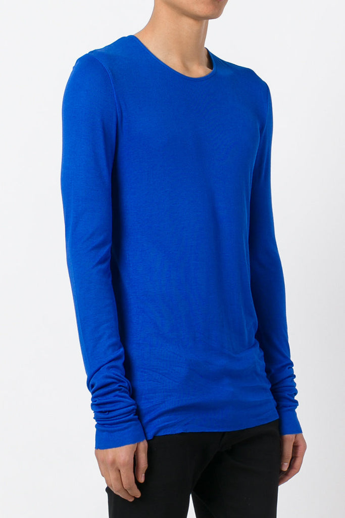 UNCONDITIONAL Lapis rayon rib crew neck long sleeved T-shirt.