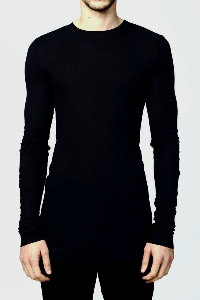 UNCONDITIONAL Black fine rayon rib crew neck long sleeved T-shirt.