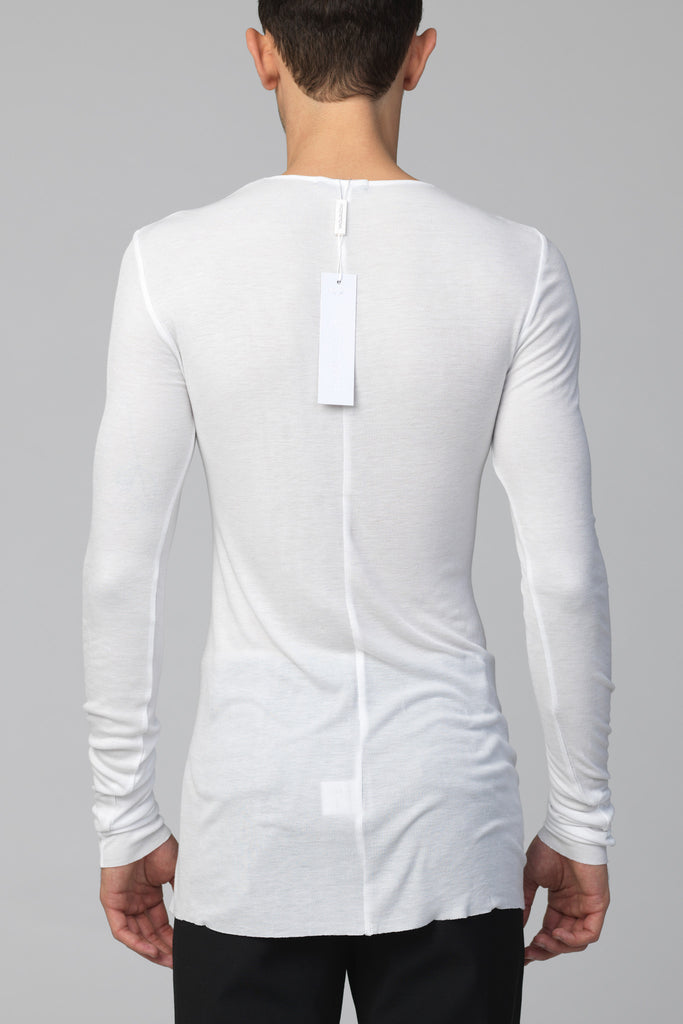UNCONDITIONAL White rayon rib crew neck long sleeved T-shirt.