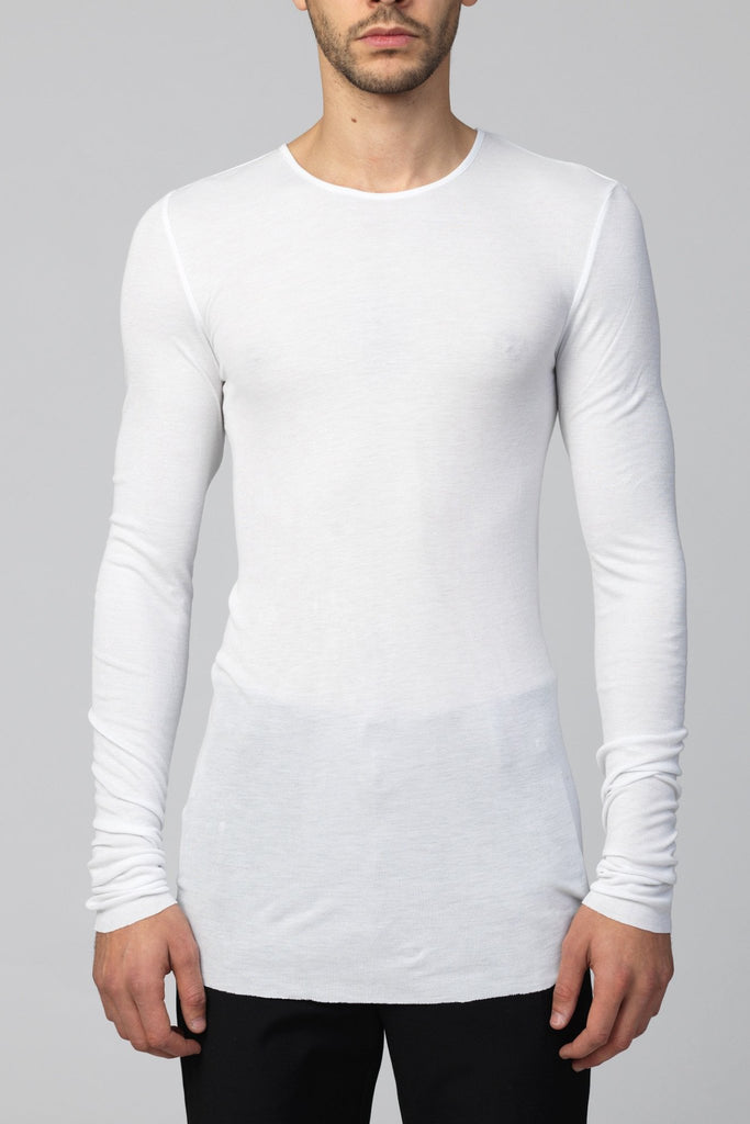 UNCONDITIONAL SS20 White rayon rib crew neck long sleeved T-shirt.
