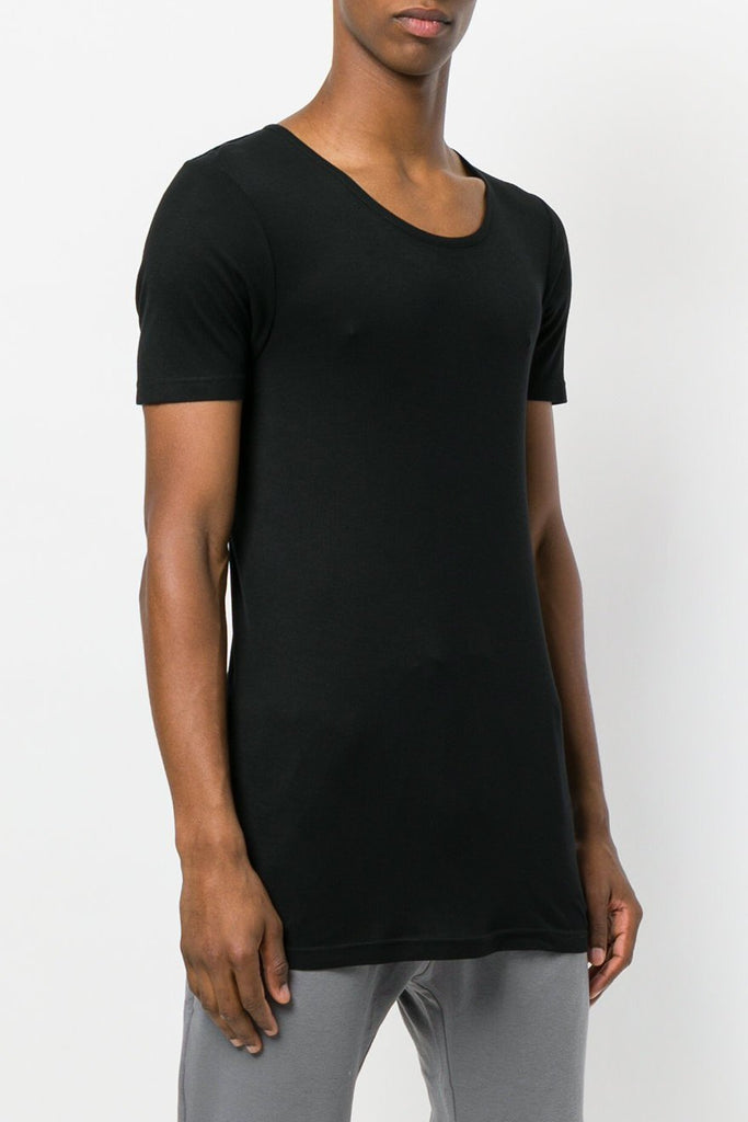 UNCONDITIONAL AW18 new black scoop neck rayon rib T-shirt.
