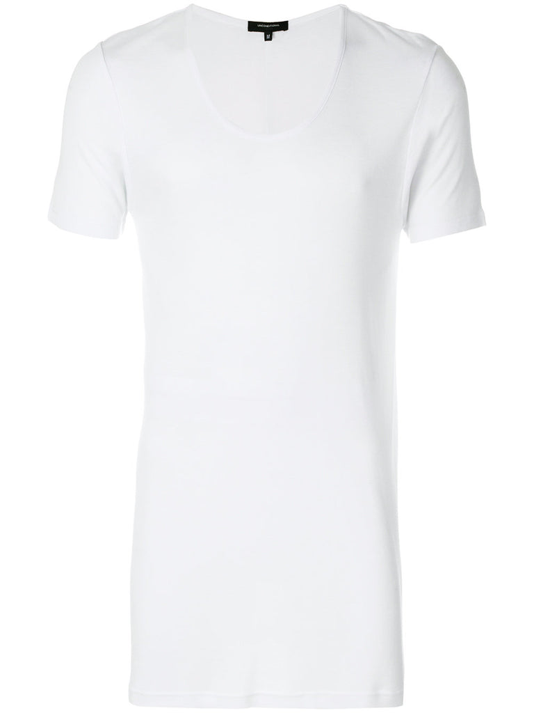 UNCONDITIONAL SS19 white scoop neck rayon rib T with black contrast rib