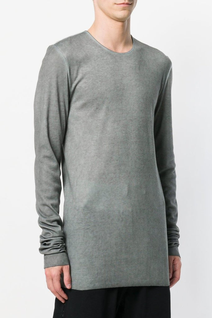 UNCONDITIONAL AW18 Cloud grey ColdDye rayon|cashmere|silk rib l/s crew neck T.