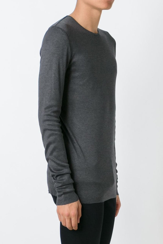 UNCONDITIONAL Steel rayon|cashmere|silk  rib jersey long sleeved crew neck tee