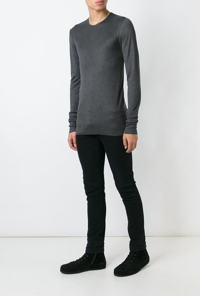 UNCONDITIONAL luxe long sleeved steel grey high crew neck t-shirt with raw cut hem is knitted in a luxe blend of 85% rayon | 10% silk | 5% cashmere. code R99L