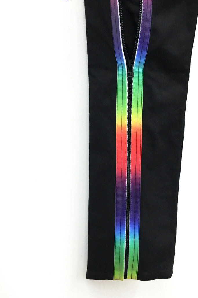 UNCONDITIONAL Black back-zip, drop crotch jeans with new rainbow taped back zip detailing